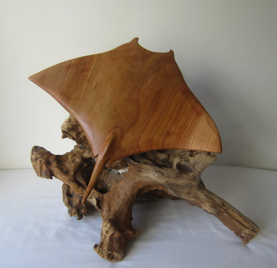 Manta ray stingray wood sculpture hand crafted