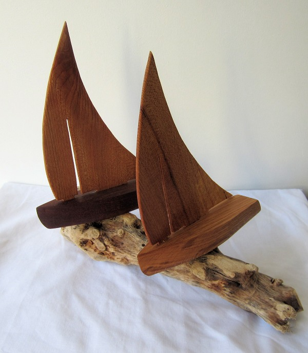 Hand carved wooden ornamental sailing boats nautical and